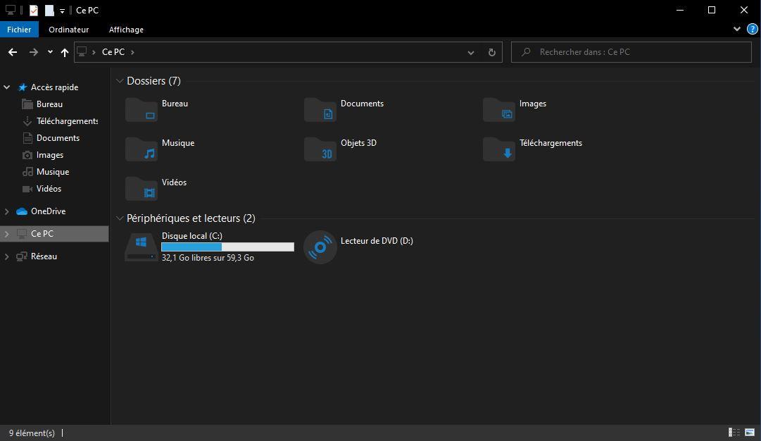 Mode sombre icônes Windows 10